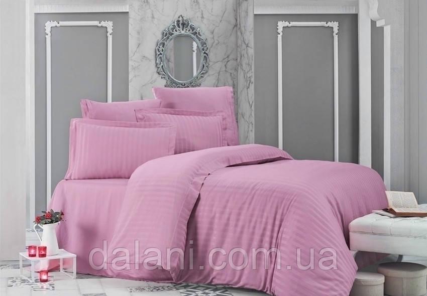 Полуторный розовый комплект постельного белья из страйп-сатина