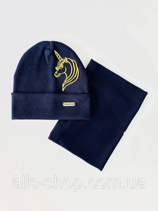 Дитяча шапка з хомутом бавовна розмір 50-52