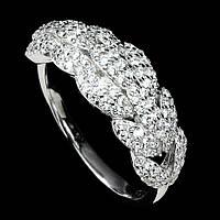 Серебряное кольцо с цирконами , размер 17.4, фото 1