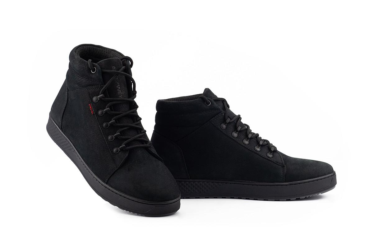 Мужские ботинки кожаные зимние черные-матовые