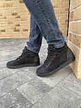 Мужские ботинки кожаные зимние черные-матовые, фото 7