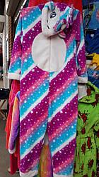 Молодіжний махровий кигуруми Єдиноріг, домашній костюм, піжама р. ХС,С,М,Л, різні кольори