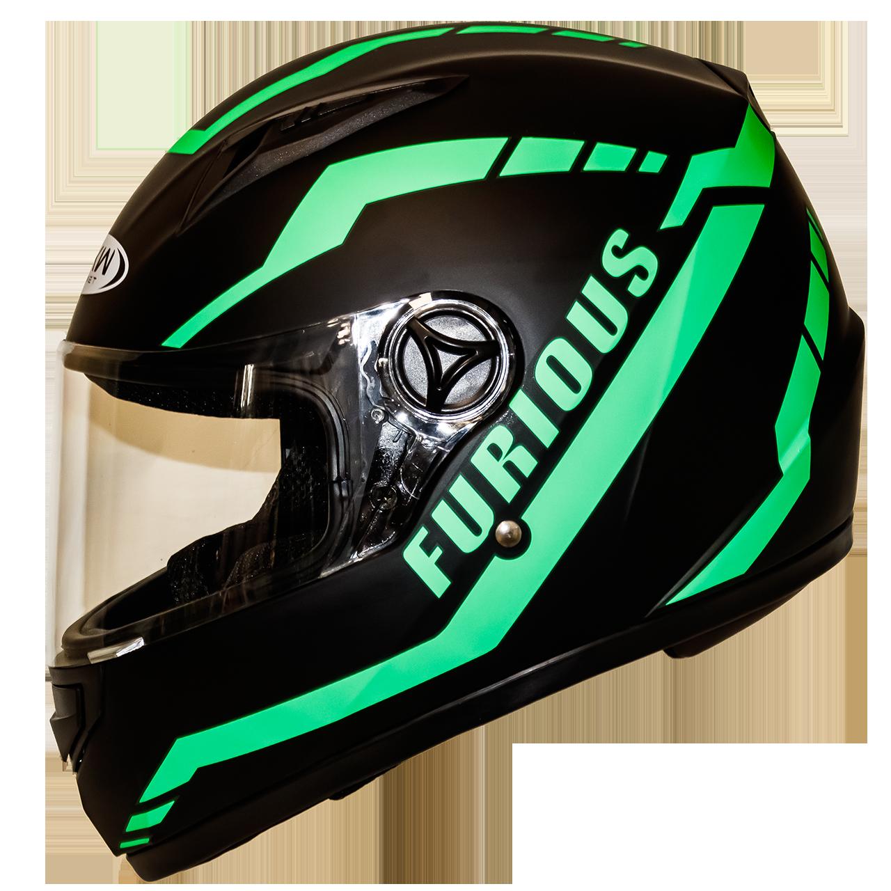 Мотошлем FXW HF-111 matte black-green закрытый шлем интеграл, full-face матовый чёрный