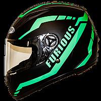 Мотошлем FXW HF-111 matte black-green закрытый шлем интеграл, full-face матовый чёрный, фото 1