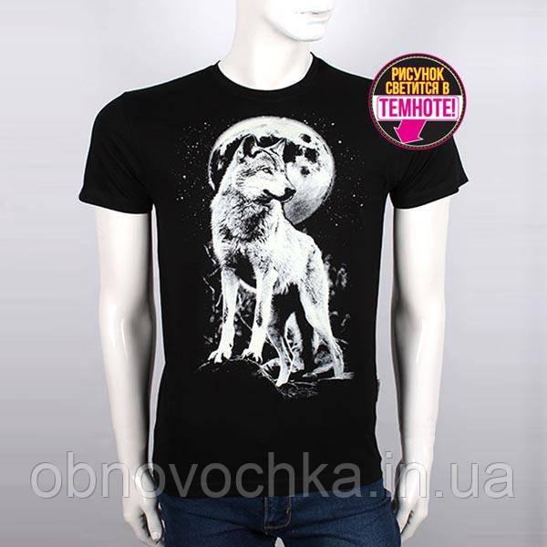 "Мужская светящаяся футболка ""Волк и луна"" размер L"