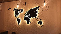 Пластиковая карта Мира с подсветкой Led Map M-1500x900 мм Черная