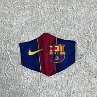 Маска для лица клубная Барселона 2020 тканевая 2-х слойная, многоразовая