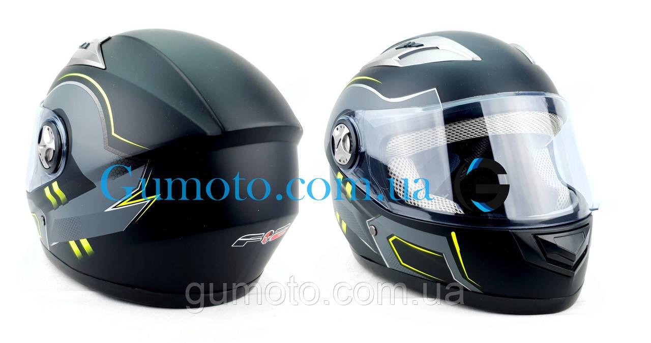 Шлем для мотоциклов Hel-Met F2-830 черный Мат Green Размер M/L