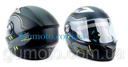 Шлем для мотоциклов Hel-Met F2-830 черный Мат Green Размер M/L, фото 2
