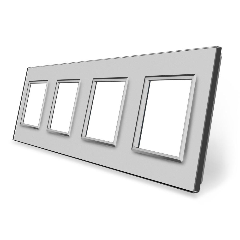 Рамка розетки Livolo 4 поста серый стекло (VL-C7-SR/SR/SR/SR-15)