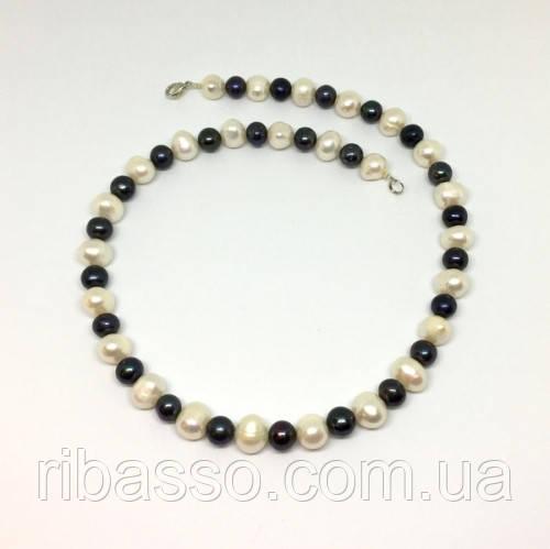 Намисто - натуральний чорний, білий перли