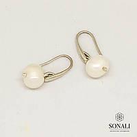 Перлова колекція. Сережки з натуральним білим перлами та сріблом