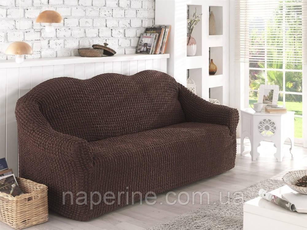 Чохол натяжна на диван без оборки MILANO шоколадний