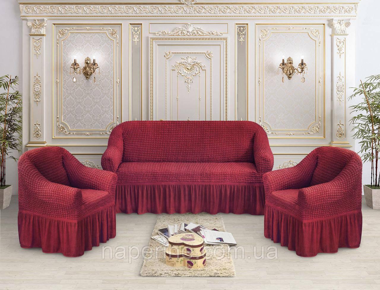 Чехол Премиум натяжной на диван и 2 кресла  MILANO универсальный, бордо