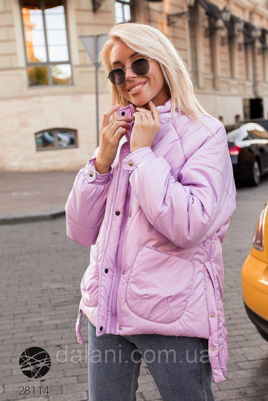 Дутая женская стеганная куртка розовая на молнии
