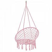 Підвісне крісло-гойдалки для дачі Крісло гамак підвісне плетене Springos 79 x 80 см Рожевий (ЛФ SPR0021)