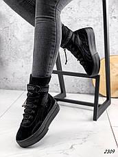 Черевики жіночі чорні, туфлі з НАТУРАЛЬНОЇ ЗАМШІ. Черевики жіночі чорні утеплені, фото 3