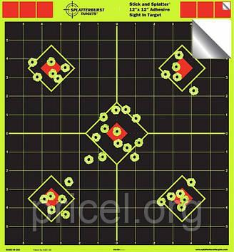 Мишень для стрельбы флюрисцентная Splatterburst 30х30 см (12х12 дюймов) Ромбы