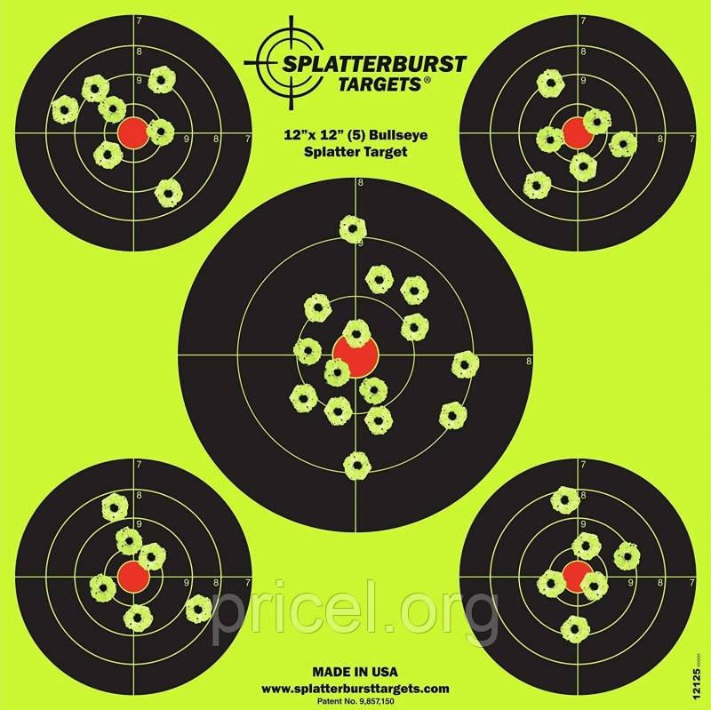 Мишень для стрельбы флюрисцентная Splatterburst 30х30 см (12x12 дюймов) Бычьи глаза
