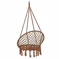 Підвісне крісло-гойдалки для дачі Крісло гамак підвісне плетене Springos 79 x 80 см Коричневий (ЛФ SPR0023)