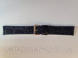 Темно-синий кожаный ремешок для часов  с теснением крокодила 20 мм
