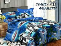 Комплект детского постельного полуторного белья Трансформеры , 3D, Бязь Люкс, 100% хлопок, синий
