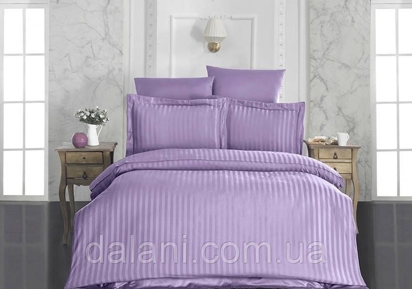 Сиреневый евро комплект постельного белья из страйп-сатина