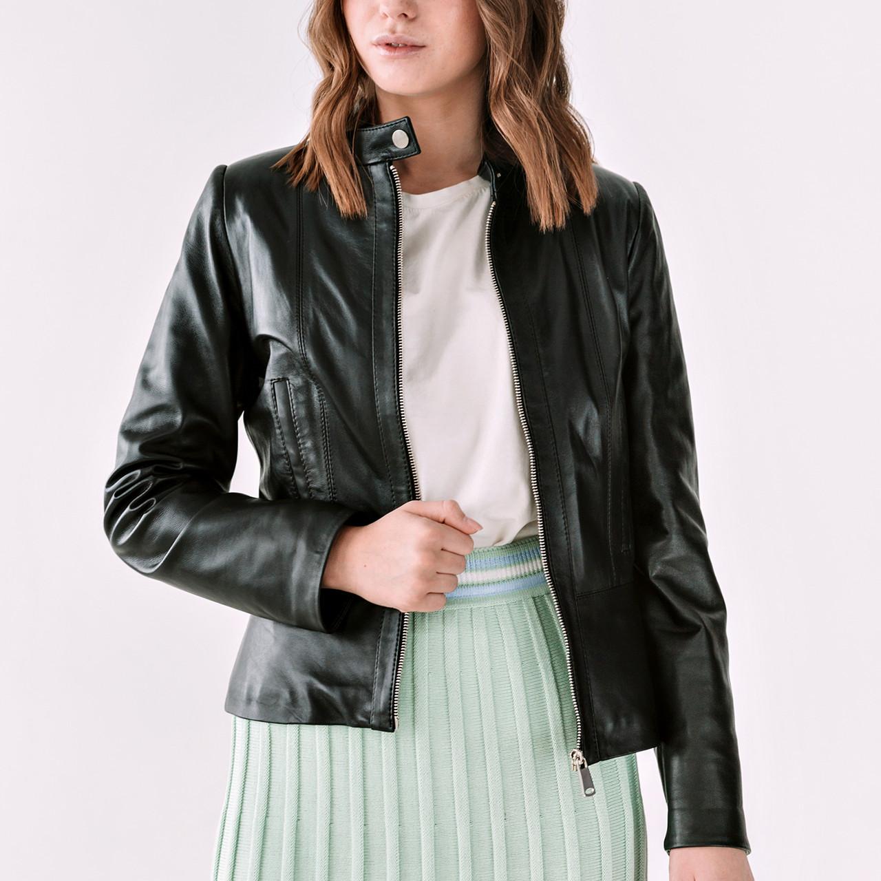Шкіряна куртка жіноча VK чорна коротка (Арт. T401-2-201)