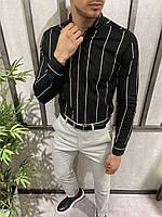 Мужская рубашка черная в белую полоску, фото 1
