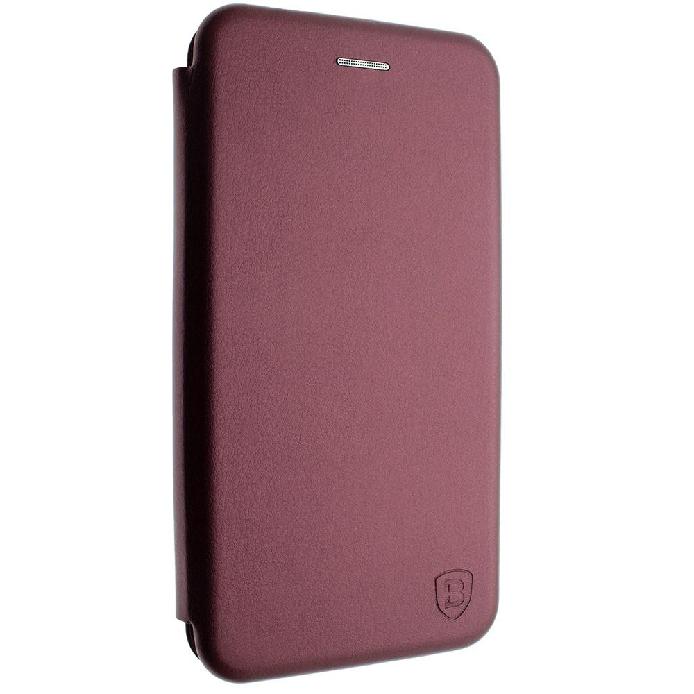Чехол-книжка для Xiaomi mi note 10 цвет Бордо, кожаный