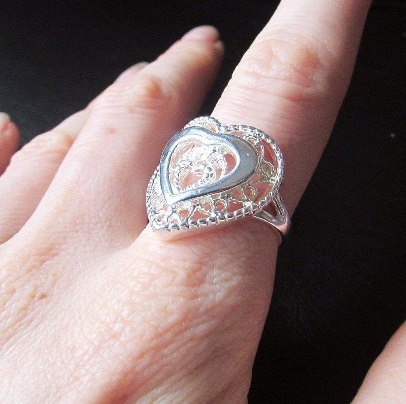 Стильное ажурное кольцо в серебре 925 сердце Лаура
