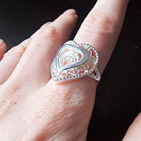 Стильное ажурное кольцо в серебре 925 сердце Лаура, фото 1