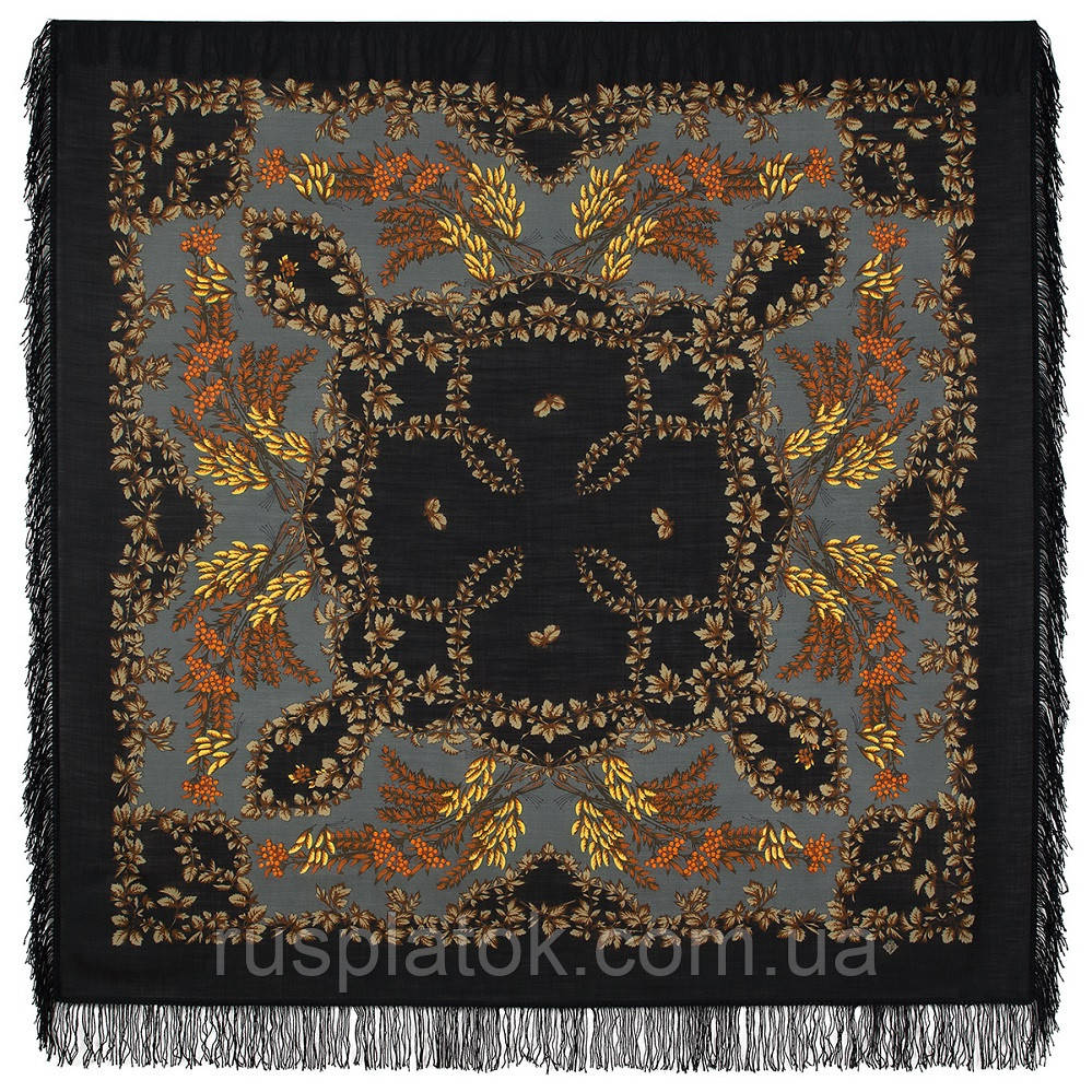 Рябина 352-27, павлопосадский платок шерстяной  с шерстяной бахромой
