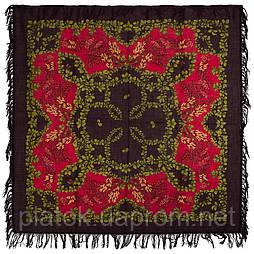 Рябина 352-7, павлопосадский платок шерстяной  с шерстяной бахромой