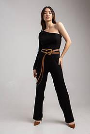 Стильный  трикотажный женский костюм c брюками и кофтой на один рукав в 2 цветах в размере 42-46
