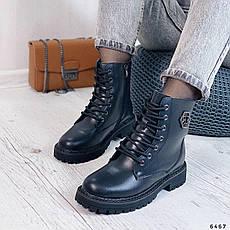 Ботинки женские черные, зимние из НАТУРАЛЬНОЙ КОЖИ. Черевики жіночі теплі чорні, фото 3