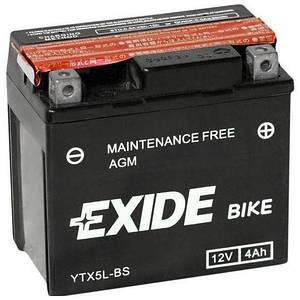 Аккумулятор сухозаряженный AGM 4Ah 70A EXIDE ETX5L-BS = YTX5L-BS