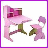 Детская школьная парта трансформер со стульчиком (Розовый)