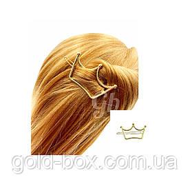 """Заколка для волос """"Корона"""" золотая"""