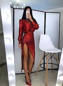 Длинное платье с разрезом из трикотажа с блестящим напылением 42-44 р