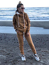 Теплый костюм спортивный женский повседневный с худи (Норма, Батал)