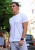 Белая мужская футболка. Футболка хлопок. Чоловіча футболка. Спортивные футболки и майки