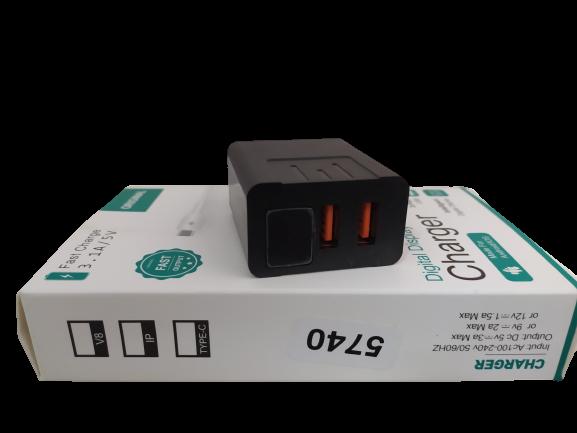 Адаптер з дисплеєм CX QC03 220v 2 usb with digital display