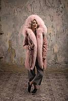 Парка с розовым мехом енота-альбиноса розовая пудра