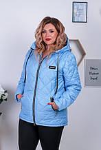 Женская куртка стеганная с капюшоном на змейке с карманами асимметричной длины (Батал)