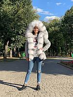 Женская куртка серая с мехом арктической лисы