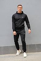 Черный мужской спортивный костюм Puma (Пума), весна-осень (реплика), штаны + худи с капюшоном.