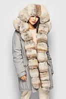 Зимняя женская парка куртка с мехом песца от бренда SIFURS размер XS,S,M,L