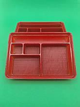 Упаковка для суші ПС-610 Червона з поділками (50 шт)