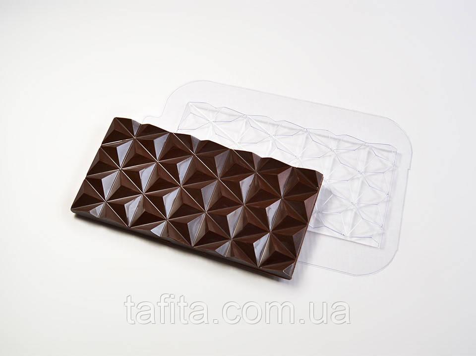 Пластиковая форма для плитки шоколада Треугольники